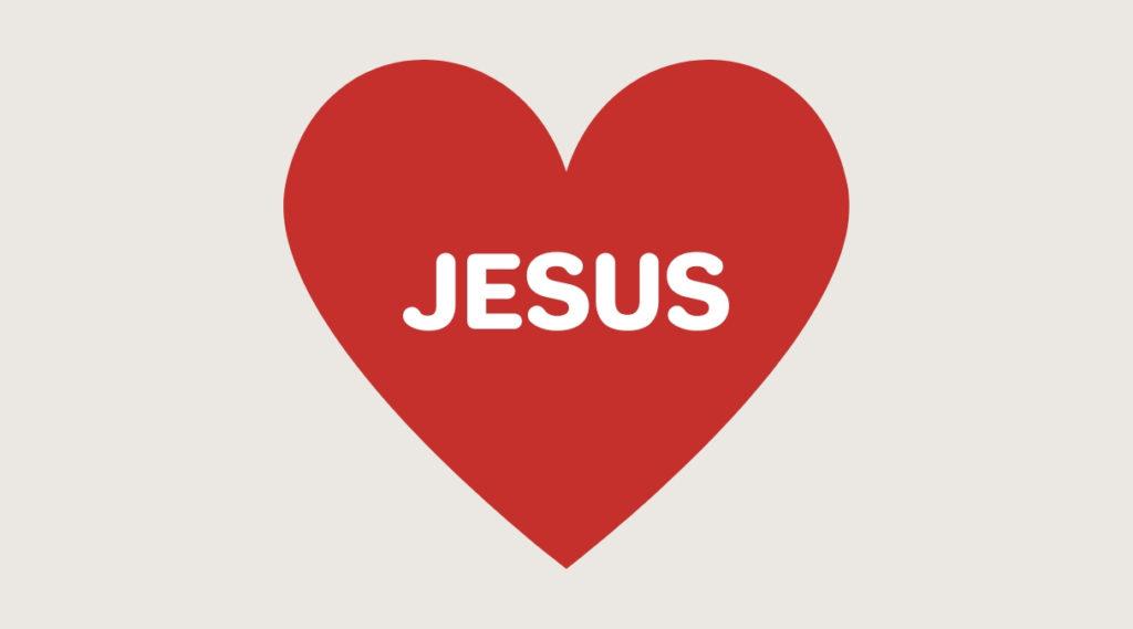 Illustrasjon av hjerte med jesus i midten